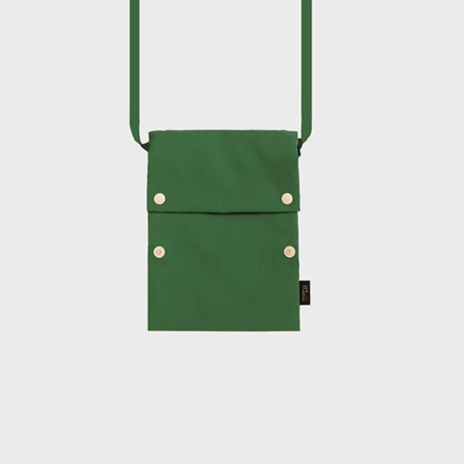 [공장] Two button book pouch cross_Forest Green